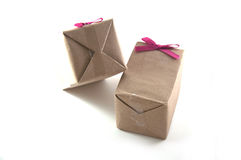 Shot of small gift box with pink ribbon Stock Image