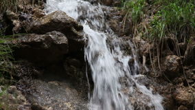 Shot of the small stream in the forest with water mist raising up in the air stock video footage