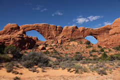 Arch National Park 2. Shot the south & north Windows from distance. The peolpe on the windows show the scale Royalty Free Stock Photo