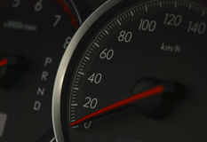 Shot of a speedometer in a car. Royalty Free Stock Photos