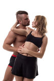 Shot of sporty heterosexual couple before kiss Royalty Free Stock Photos