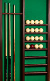 Shot of stand with billiard equipment Royalty Free Stock Photos