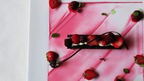 Shot of strawberry ice cream served in plate, Hotel Amar Villas, Agra, Uttar Pradesh, India stock video
