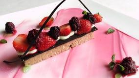 Shot of strawberry ice cream served in plate, Hotel Amar Villas, Agra, Uttar Pradesh, India stock footage