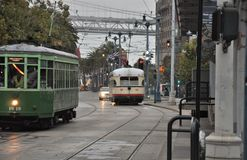 Streetcars in San Francisco. A shot of streetcars in San Francisco in the early morning hours Stock Photography