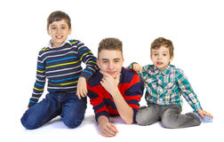 Shot studio with three brothers Royalty Free Stock Image