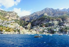 Pretty view on Positano from the sea royalty free stock photos