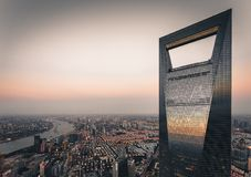 This shot of SWFC, the 2nd tallest building in Shanghai royalty free stock images