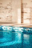 Shot of swimming pool with clean blue water Royalty Free Stock Image