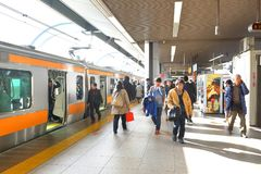 Japan: JR train above ground. Shot taken before boarding JR trains. The Japan Railways Group, more commonly known as JR Group JRグループ Jei royalty free stock photo