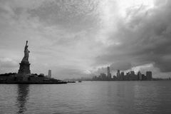 On the boat for Liberty Island. Shot taken on a a boat leaved from Liberty Island. Manhattan is on the background stock image