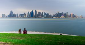 This shot taken from MIA park mountain it was reall dark but i got this with long exposure . DOHA QATAR stock photo