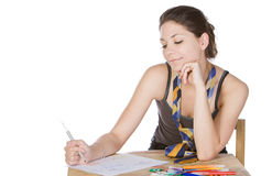 Shot of a Teenager Girl Doodling. Against White Background Stock Photography