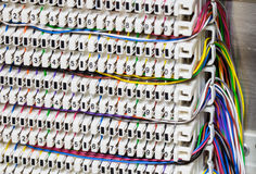 A shot of telephone cable in telephone panel Royalty Free Stock Image