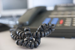 Shot of a telephone cord Stock Photo