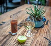 Shot of tequila, sangrita and lime - drink mexican style Royalty Free Stock Photography