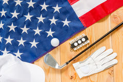 Shot from top of golf equipment. Closeup royalty free stock photos