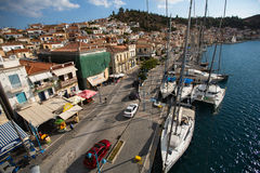 Shot from the top of the mast during in sailing regatta 16th Ellada Autumn 2016 among Greek island group in the Aegean Sea. Royalty Free Stock Photos