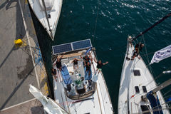Shot from the top of the mast during in sailing regatta 16th Ellada Autumn 2016 among Greek island group in the Aegean Sea. Stock Photo