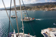 Shot from the top of the mast during in sailing regatta 16th Ellada Autumn 2016 among Greek island group in the Aegean Sea. Royalty Free Stock Image