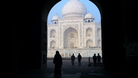 Shot of tourists at Taj Mahal, Agra, Uttar Pradesh, India stock video footage