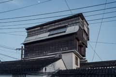 Pigeon house in a town, Cinematographic scene. stock photography