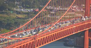 Traffic. Shot of traffic & congestion of the iconic Golden Gate bridge, San Francisco stock video
