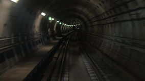 Shot of train goes underground subway. stock video footage