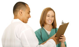 Shot Of Two Medical Team Smiling Royalty Free Stock Photos