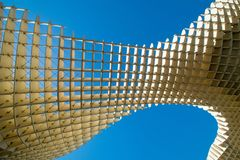 Funky architechture in Sevilla. A shot from underneath funky architecture found in Sevilla, Spain Royalty Free Stock Photo