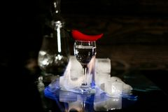 a shot of vodka, an alcoholic beverage, next to ice, fire, ice, red chili pepper. The concept of alcohol, spirits Stock Image