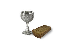 Shot of vodka and black bread Stock Photography