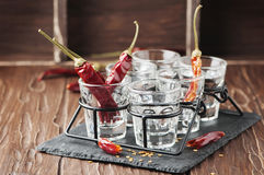 Shot of vodka and chili peppers Royalty Free Stock Image