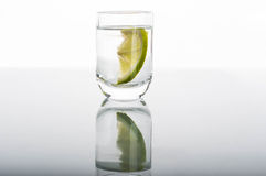 Shot of vodka with lemon Royalty Free Stock Photo