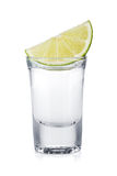Shot of vodka and lime slice Royalty Free Stock Image