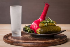 Shot of vodka with pickles cucumber and garlic Royalty Free Stock Photos