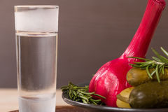 Shot of vodka with pickles cucumber and garlic Royalty Free Stock Image