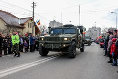 Romanian National Day military parade army vehicule Royalty Free Stock Photo