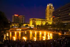 WaterFire Scape, Providence, Rhode Island. The shot was taken during the WaterFire festival held in Providence, Rhode Island and gives true New England vibes royalty free stock photos