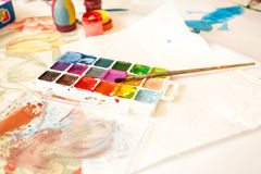 Shot of watercolors with brush Royalty Free Stock Photo