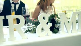 Wedding reception venue and dinner table decoration