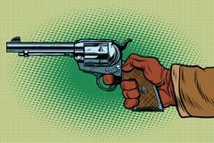 Shot Western Wild West. Pop art retro vector illustration. Steampunk style. Science fiction Stock Photos