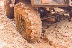 Shot of wheel in dirt. Royalty Free Stock Photography