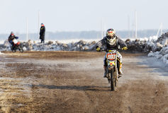 Shot of a winter motocross competition. Stock Photos