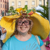 Shot of a woman with fruits head wear. Royalty Free Stock Photography