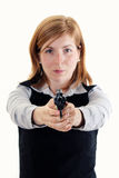 Shot of a young woman posing with guns Stock Image