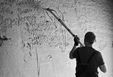 Shotcrete worker Royalty Free Stock Image