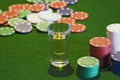 Shotglass and Chips Stock Images