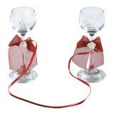 Shotglasses di cerimonia nuziale di vodka Fotografia Stock Libera da Diritti