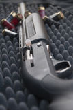 Shotgun. Close up of shotgun in gray case with buletts stock image